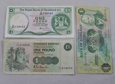 Royal Bank of Scotland Clydesdale One Pound £1 Lot of 3 Notes P0023