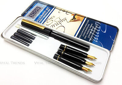 MANUSCRIPT CALLIGRAPHY MASTERCLASS PEN GIFT SET WITH NIBS INK in TIN CASE