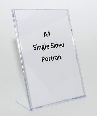 A4 Single Sided Clear Acrylic Plastic Sign or Menu Holder SHLA4 - L-Shape