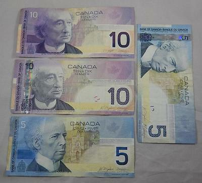 Bank of Canada Series 2001 2005 $5 & $10 Five Ten Dollar Note 4 Note Lot P0026