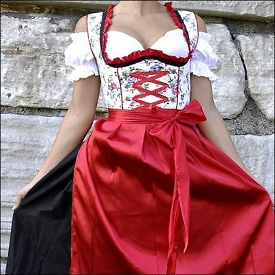 Germany,German,Trachten,May,Oktoberfest,Dirndl Dress,3-pc.Sz.8,Red,Flowers,Black