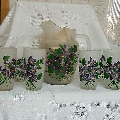 frosted glass lemonade set with hand painted purple flowers. Vintage