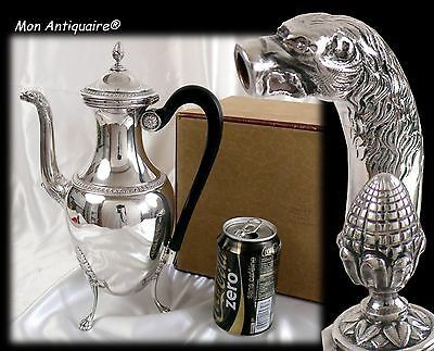 ODIOT Antique French Silver plate Coffee Pot Empire Pattern Napoleon 1er Teapot
