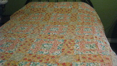 Feed Sack Antique, Vintage Quilt Top Hand Stitched