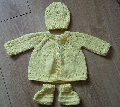 New hand knitted 0-3 months cardigan set