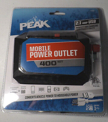 Peak Mobile Power Outlet, 400 Watt PKCOM04 2.1 Amp USB NEW SEALED PACKAGE