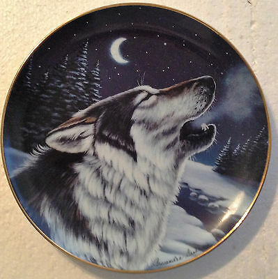 Collectable Wolf Plate 8 1/4 Inches - Cry At Midnight - Franklin Mint