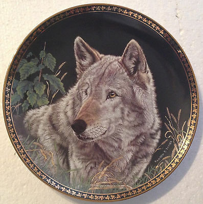 Collectable Wolf Plate 8 1/4 Inches - Nighttime Serenity -  Hamilton Collection