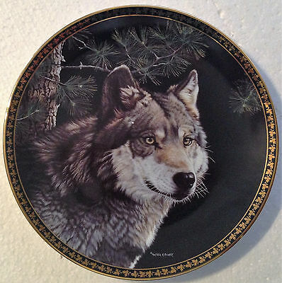 Collectable Wolf Plate 8 1/4 Inches - Gray Wolf -  Hamilton Collection