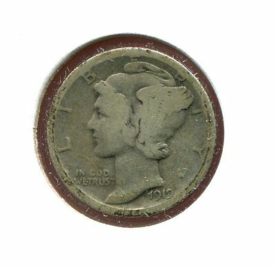 1919 D Mercury/Liberty Head 90% Silver Dime  (Combined Shipping $2.95)