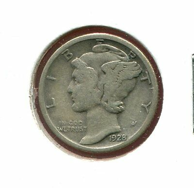1928 S Mercury/Liberty Head 90% Silver Dime  (Combined Shipping $2.95)