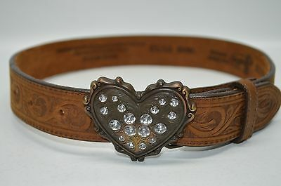 Justin USA Made Girls Cowgirl Western Embossed Belt Heart Rhinestones Small 20