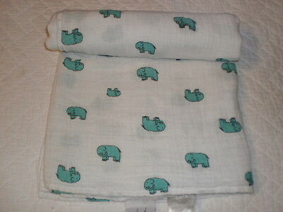 Aden + Anais Teal/White ELEPHANT Cotton Muslin BABY BLANKET Swaddling/Receiving