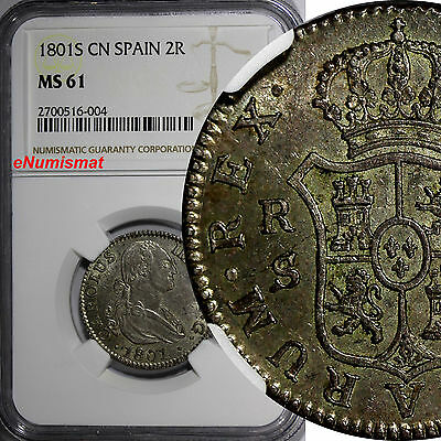 Spain Charles IV Silver 1801-S 2 Reales NGC MS61 Toned TOP GRADED COIN KM# 430.2
