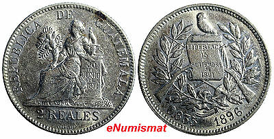 Guatemala Silver 1896 2 Reales, Dos Low Mintage-605,000 KM# 167