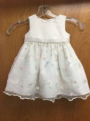 Cinderella Sleeveless Ivory Floral Easter Dress Girls Toddler Size 18 Months