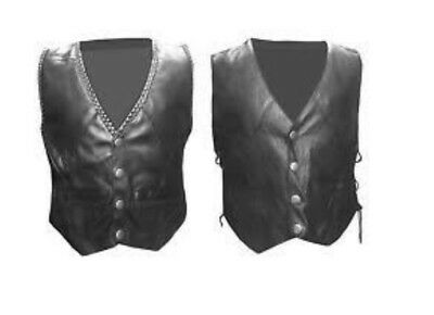 Genuine Childrens Kids Waistcoat Real Leather Boys Girls Black Vest Biker Style