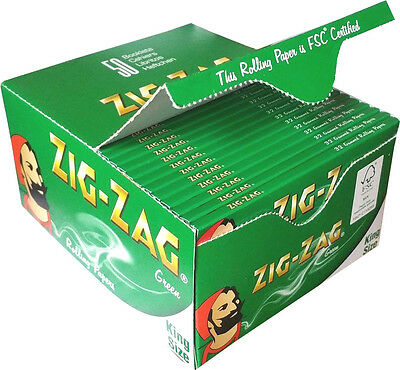 Zig Zag Genuine King Size Smoking Cigarette Rolling Papers Green