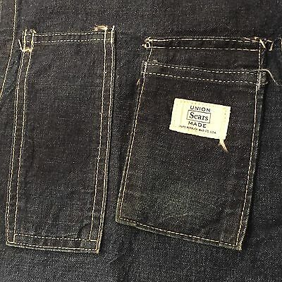 Vintage 1950's SEARS & ROEBUCK Selvedge Denim Work Apron USA MADE Single Stitch