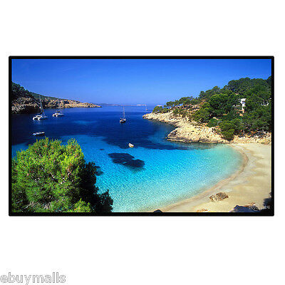 16:9 Manual Projection Screen Projector Home Movie Matte White 60/72/84/100/120""