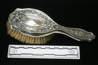 Antique Sterling Silver Repousse Hairbrush Dresser Set