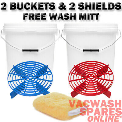 2 20L Wash Buckets And Barrier-Grit Guard-Scratch Shield-Wash Bucket System Mitt