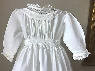 Antique Baby/Doll/Bear Christening Gown White Cotton Shirring, Lace, Tucks