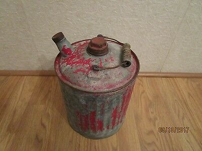 Vintage Small Metal Gas Can With Wooden Handle