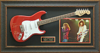 Led Zeppelin Replica Signature Guitar Framed Display