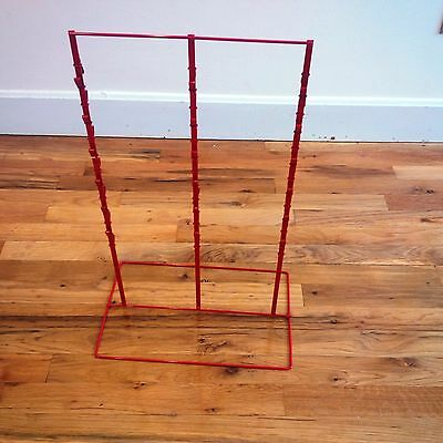 """Single 3 Round Strip 6"""" Apart 39 Chip Counter Potato Chip Display Rack in Red"""