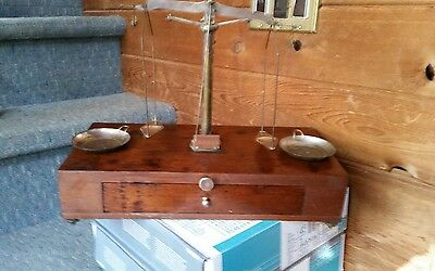 antique wood and brass scale