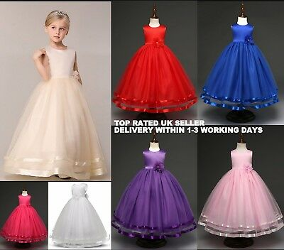 Flower Girl Long Wedding Dress Party Prom Communion Formal Ocassion  3-12Y