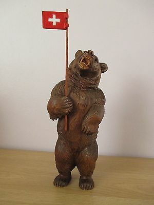 "Antique 9.5"" Quality Black Forest Standing Bear Wood Carving With Swiss Flag"
