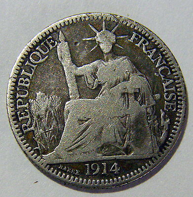 1914 French Indo China Silver 10 Centimes  Low Mintage Scarce One