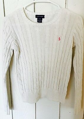 Ralph Lauren Girls Size 12 14 Solid White Long Sleeve Cable Pullover Sweater