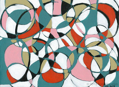 abstract expressionist art acrylic painting black white red teal green pink
