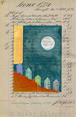 OOAK mixed media collage painting art antique ledger vintage book page Houses
