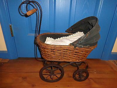 Antique Canvas Top Wicker Doll Baby Stroller, Carriage