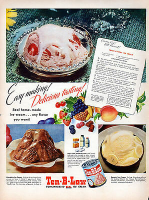 1948 Ten-B-Low Concentrated Ice Cream ad --Real Ice Cream !!!---k657