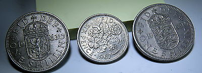 Great Britain, 3 coins, (2) 1963 One Shilling, (1) 1967 Six Pence QEII UK