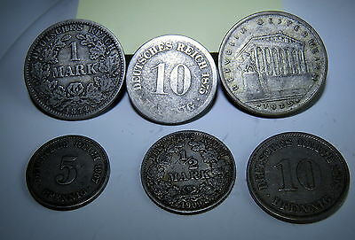 Germany/Austria, rare 6 coin lot, Some SILVER, 1874 1875 1925 1907 1909 1898