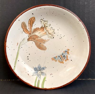 """Fitz & Floyd Small Daffodil Butterfly Canape Plate Bowl 1975 5.25"""" Narcissus"""