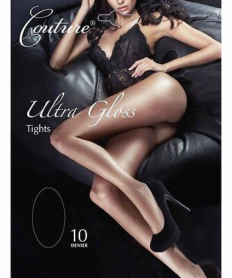 "Couture ""Ultra Gloss"" Sheer Tights Hosiery Pantyhose Nylons Size[M] Black"