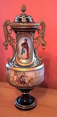 Antique Sevres Style French Hand Painted Porcelain Urn/vase.