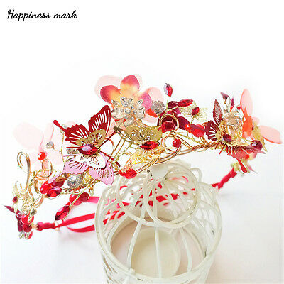 Red Butterfly Beads Queen Tiara Formal Headdress Headband Prom Party Accessory