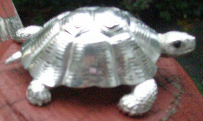 CHRISTOFLE Silver Rare TURTLE FIGURINE Statue Paperweight LUMIERE COLLECTION