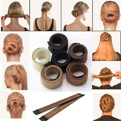 New Women DIY Hair Styling Bun Maker Donut Former Foam Fashion French Twist Tool