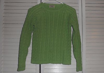 LL Bean Unisex Boys Girls Cable Knit Cotton Green Fisherman Sweater Size 8-10
