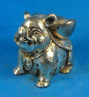 Tibet Silver Carved Pig Figurine   1961