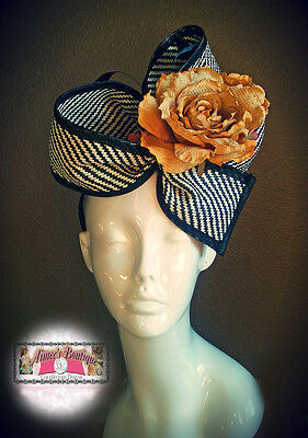 Sinamay Black White Fascinator Hat with Large Golden Yellow Flower Derby Races